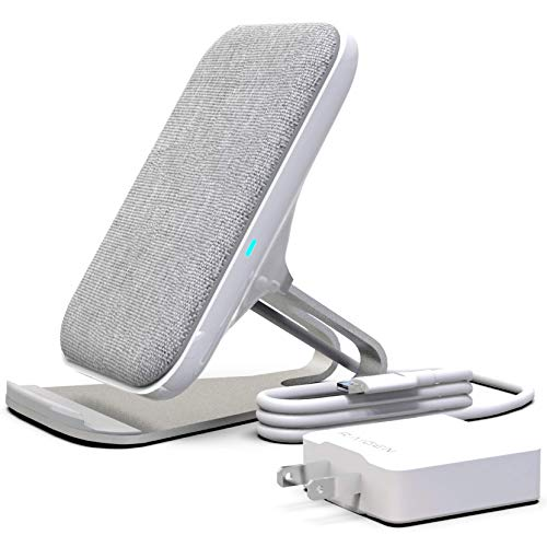 (RAIGEN Wireless Charging Stand + Fast Charge AC Adapter Modern Fabric Canvas Design 7.5W for iPhone Xs MAX XR X 8 Plus, 10W for Samsung Galaxy S10 S9 S8 S7)