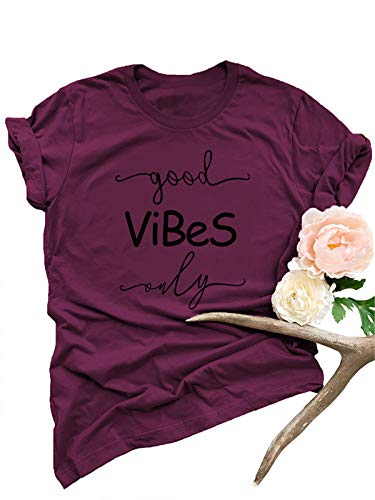 Festnight Women Funny T-Shirt, Good Vibes T Shirts Women Funny Letter Print Short Sleeve Casual Loose Graphic Tee Tops Burgundy