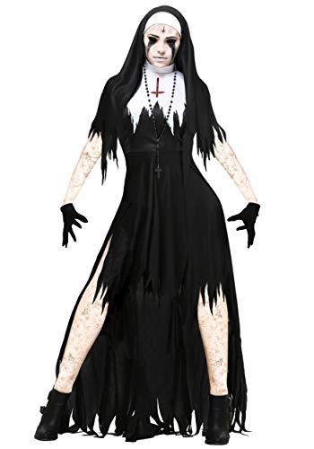 Possessed Man Halloween Costume (Women's Dreadful Nun Costume Large)