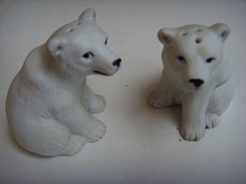 Polar Bear Endangered Species White Porcelain Salt & Pepper 2.5
