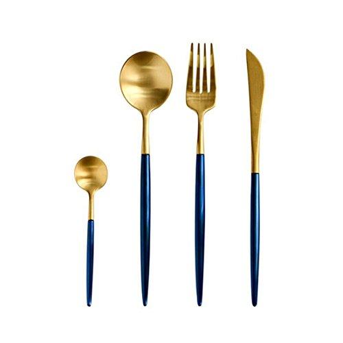 Jinsen Customized Stainless Steel Flatware Set for Home Kitchen Restaurant Hotel ( Blue + Gold) (Hotel Flatware Silverplate)