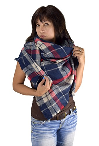 Peach Couture Warm Tartan Plaid Woven Oversized Fringe Scarf Blanket Shawl Wrap (Red Blue)