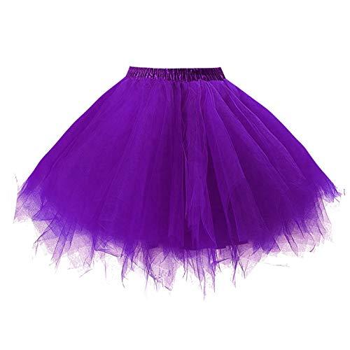 (Girstunm Women's 1950s Vintage Petticoats Bubble Tutu Dance Half Slip Skirt Purple-S/M)