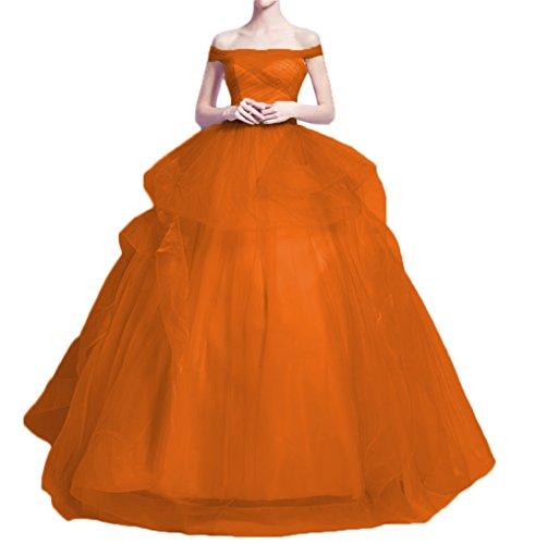 Dydsz Women's Evening Party Dresses Prom Dress Off The Shoulder Maxi Tulle Gown D91 Orange 16