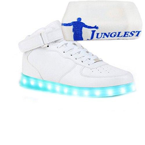 (Present:kleines Handtuch)JUNGLEST® (TM) 7 Farbe USB Aufladen LED Leuchtend Sport Schuhe Sportschuhe Sneaker Turnschuhe für Unis Klettband Weiß High-Top