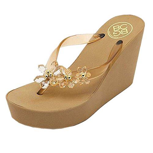 l Gem Sandals Wedge Chunky High Platform Flip Flops Golden-36 ()