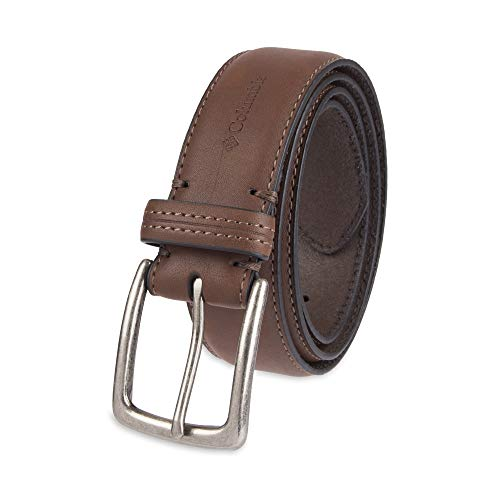 Columbia Men's Casual Leather Belt -Trinity Style for Jeans Khakis Dress Leather Strap Silver Prong Buckle - Style Leather Mens