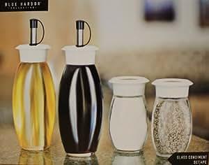 Glass Oil & Vinegar Dispenser Condiment Set Includes Salt and Pepper Shakers 31892