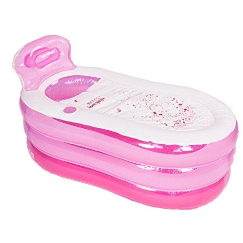 Inflatable Bathtub, Portable Foldable Inflatable Durable Bathtub Adult Unisex Blow Up PVC Shower Spa Warm Bathtub Baby Swimming Pool Folding Traveling (USA Stock) (Pink)