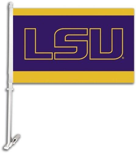 NCAA Louisiana State Fightin Tigers Car Flag LSU Logo with Free Wall Bracket ()