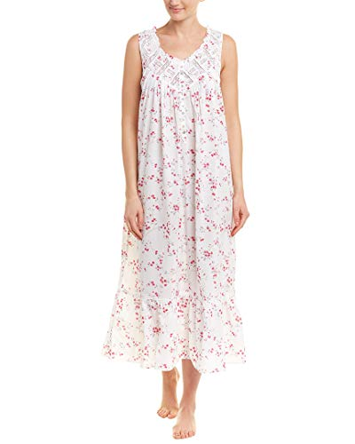 Eileen West Women's Ballet Woven Floral Nightgown White Multi Floral Scroll X-Small