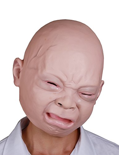 - LarpGears Halloween Costume Party Baby Mask Full Head for Adults Latex Cry Baby Mask