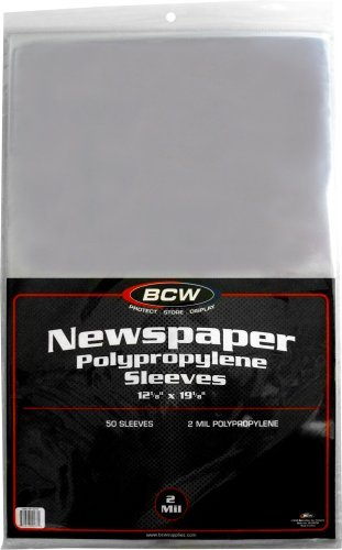 "(50) Newspaper Sleeves - 12-1/8"" x 19-1/8"" - BCW Brand"
