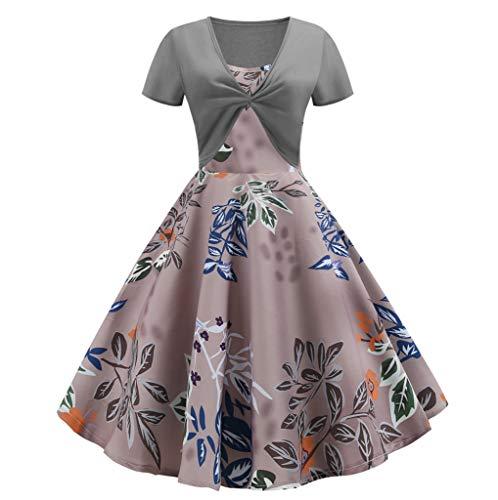- Caopixx Women's Elegant Sleeveless Vintage Midi Dress A-line Cocktail Party Tea Dress Gray