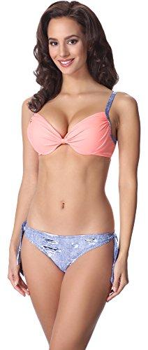 aQuarilla Bikini Conjunto para Mujer AQ125 Azul Jeans/Salmón