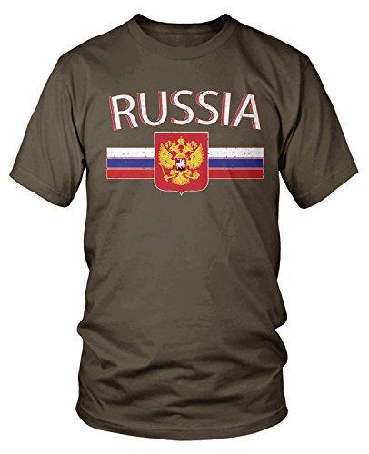 Amdesco Men's Russian Flag And Russia Eagle Crest T-shirt, Dark Chocolate Medium Russia Flag T-shirt