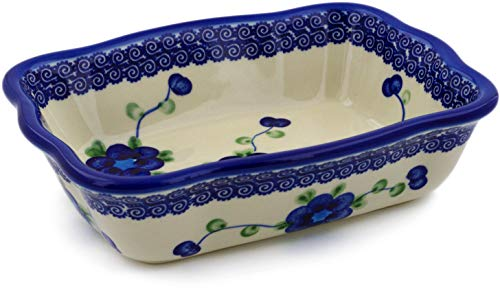 Polish Pottery 7¾-inch Rectangular Baker (Blue Poppies Theme) + Certificate of Authenticity ()