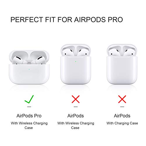 2019 Upgraded AirPods Pro Case Cover, Soft Thick Silicone Skin Protective Cover with Keychain Visible Front LED for AirPods Pro Wireless Charging Case, Black