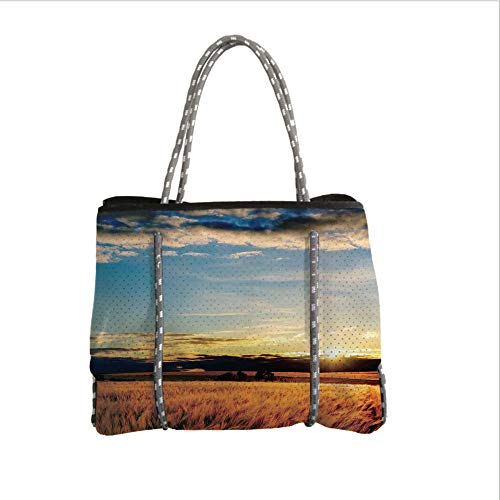 Neoprene Multipurpose Beach Bag Tote Bags,Farm House Decor,Gold Barley in Sunset Sunbeams on Flora Shadows of Clouds Rural Field Print,Yellow White Blue,Women Casual Handbag Tote Bags -