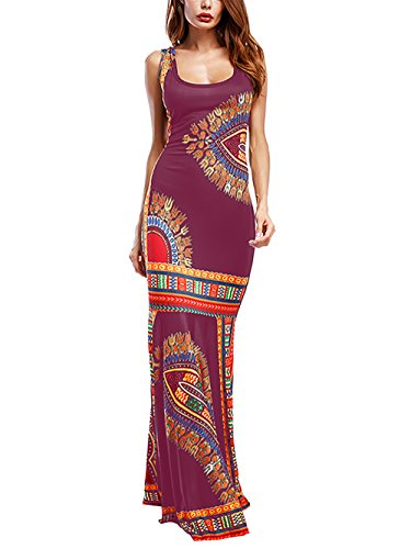 Amoretu Womens Dashiki Sleeveless Fitted Bodycon African Maxi Dress(Burgundy,XL)