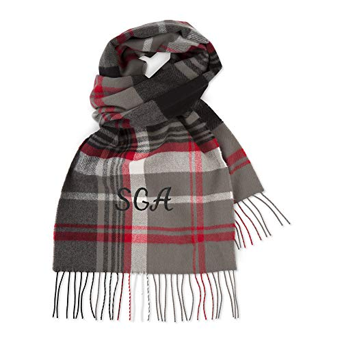 Personalized Softer Than Cashmere Grey Plaid Center Scarf with Embroidery ()