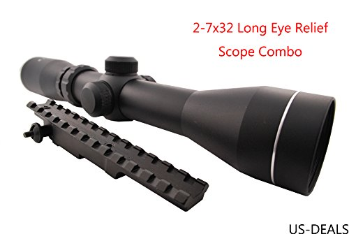 US-DEALS K98 Scope Mount and 2-7x32 Long Eye Relief Scope Combo
