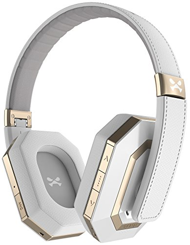 Ghostek soDrop Pro Wireless Headphones Headset Active Noise Canceling Bluetooth 4.1 HD Hi-Def Audio Technology Hi-Fi Stereo Crystal Clear Sound Enhanced Foldable Built in Microphone (White)