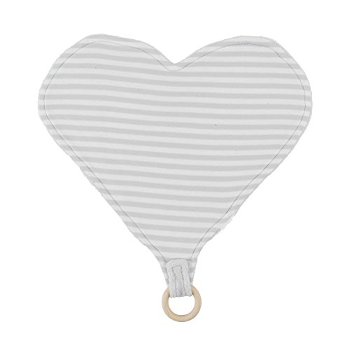 Under the Nile Unisex Baby Heart Lovey with Teething Ring Toy Grey Stripe 13