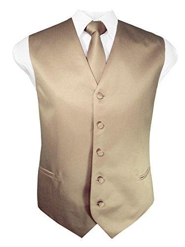 Guytalk Mens Solid Tuxedo Vest Necktie and Handkerchief Set Large Beige ()