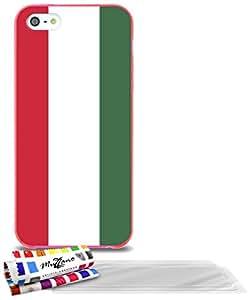 """Carcasa Flexible Ultra-Slim APPLE IPHONE 5 de exclusivo motivo [Hungria Bandera] [Rosa] de MUZZANO  + 3 Pelliculas de Pantalla """"UltraClear"""" + ESTILETE y PAÑO MUZZANO REGALADOS - La Protección Antigolpes ULTIMA, ELEGANTE Y DURADERA para su APPLE IPHONE 5"""