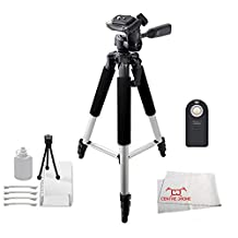 """Wireless Remote Control + 57"""" Tripod For The Nikon D3000, D3100, D3200, D3300, D5100, D5200, D5300, D5500, D750, D7000, D7100, D7200, D90, D610, D800, D810, P7000, P7100, P7800, 1 J1, 1 J2 and 1 V1 Digital SLR Cameras with Bonus Starter Cleaning Kit"""
