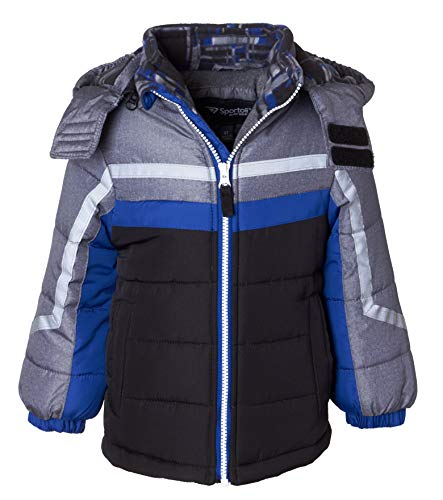 Sportoli Boys' Fleece Lined Hooded Colorblock Winter Puffer Bubble Jacket Coat - Blue Print (Size 7)
