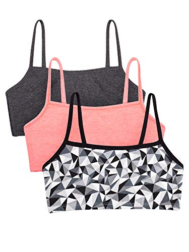Fruit of the Loom womens Cotton Pullover Sport Bra, kaleidoscope/charcoal/punchy peach 36
