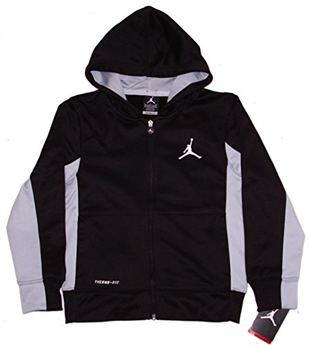 Nike Boys Air Jordan Therma Fit Full Zip Hoodie Sweatshirt Black Grey Small