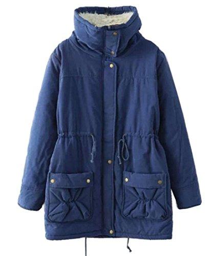 Blue Neck Parka Royal Outerwear Jacket Coat Waist Lapel Padded Women's Atree vUpwII