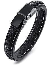 Pure titanium black leather bracelet mens Leather Bracelet