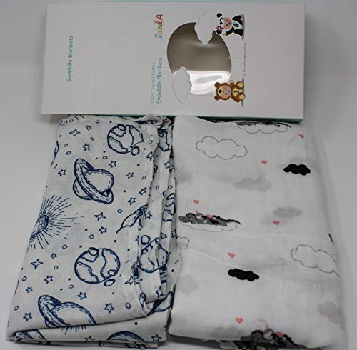 - IandA Baby Dragons and Planets 100% Organic Cotton Muslin Swaddle Blankets