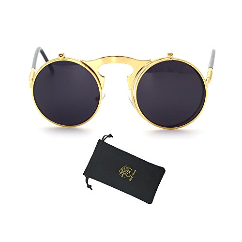 Red Peony Retro Vintage Round Flip up Sunglasses Steampunk Sunglasses for Men and Women (Gold, - That Glasses Up Flip