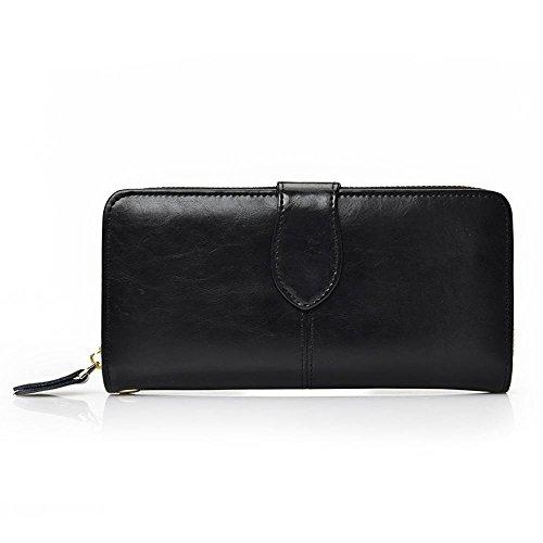 Aoligei Hommes de carte multi-sac main cuir grand portefeuille tenant sac business loisirs tête en cuir D