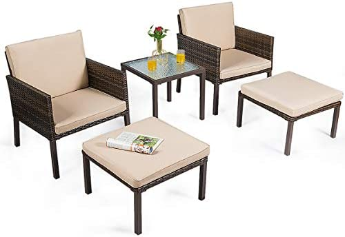 Tangkula 5-Piece Patio Sofa Sets