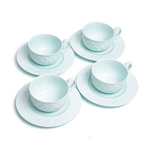 (T4U 5 Ounce Light Green Damond Bone China Coffee Cups and Saucers with Handle for Coffee Latt Mocha Cappuccino Espresso Tea Cups and Saucer Light Green sets of 4)