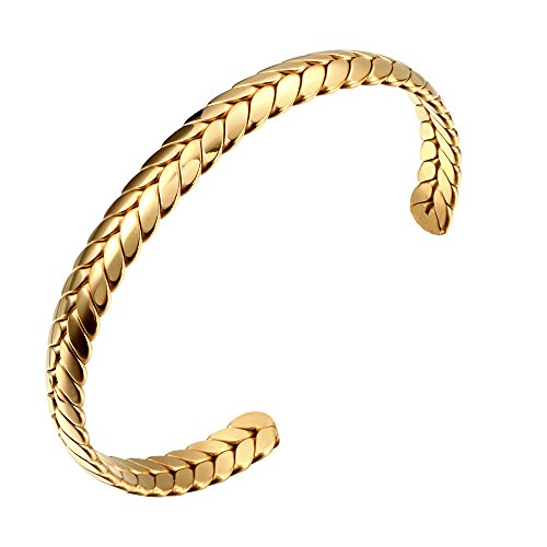 18k Gold Plated Cuff - JOVO LOVE JINHUI Jewelry 18K Gold Plated Stainless Steel Cuff Bangle Bracelet with Wheat Texture Bracelet Thanksgiving Day Gift for Women