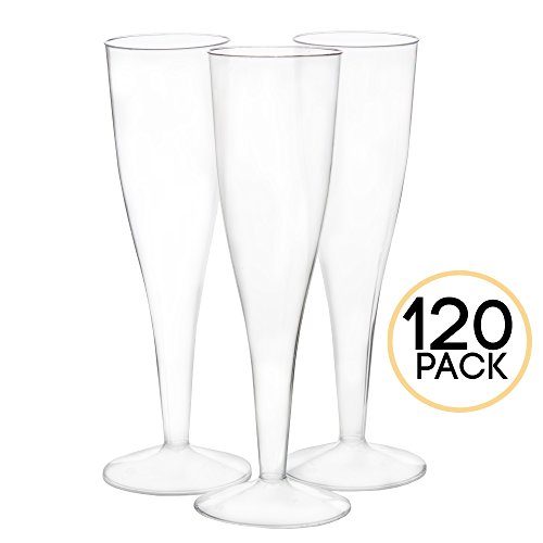 120 Premium Plastic Champagne Flutes - Bulk One Piece Champagne Glasses for Wedding or Party (Small Champagne Glasses)