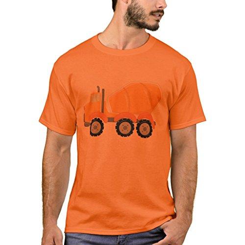 Zazzle Men's Basic T-Shirt, Cement Mixer Construction Toddler Kids T-Shirt, Athletic Orange L
