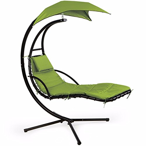 XtremepowerUS Floating Swing Chaise Lounge Chair Hammock Lounger Patio Lounge Seat Backyard w/Cushion- Green