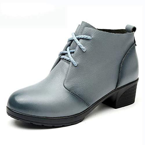 Femeninas Zapatos Casuales Mujer Estilo Tobillo Martin Pingxiannv De Botas Cuero Vintage gq78w8R