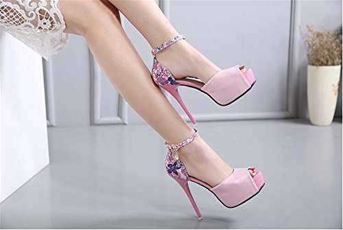 Womens strap size high there stiletto buckle barely shoes Pink double heel party sandals ladies rwnT7Zq0r