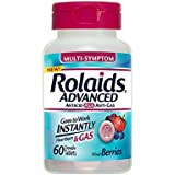 Rolaids Advanced Multi-Symptom Antacid Plus Anti-Gas Tablets Mixed Berries - 60 ct, Pack of 2