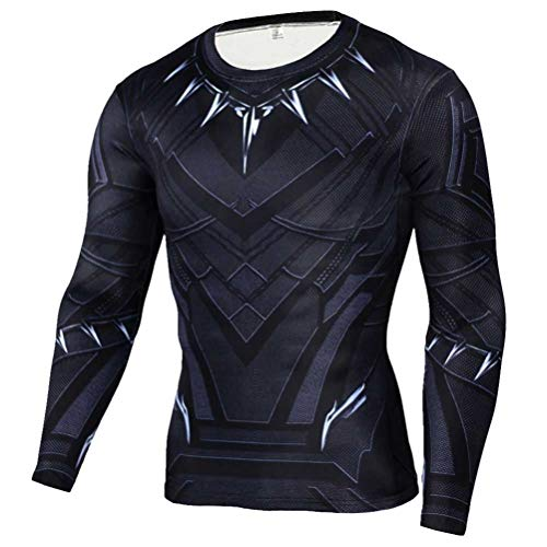 Dri-fit Long Sleeve Compression Shirt for Mens Black Panther Costume Shirt 2XL -