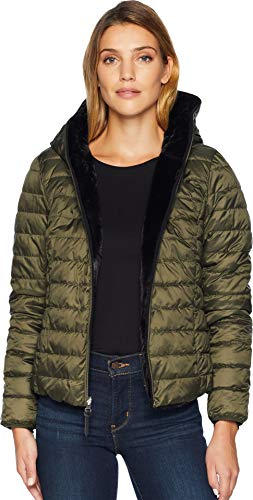 Marc New York by Andrew Marc Women's Melrose Reversible to Fur Short Packable Puffer Black/Forset Large